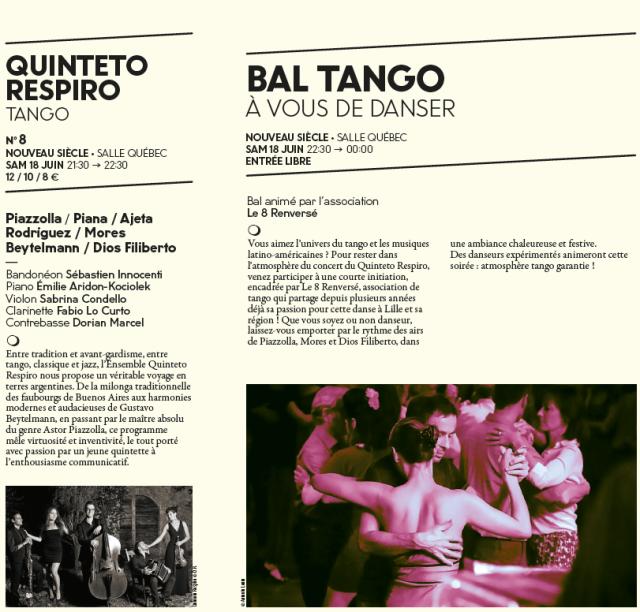 Page pour le Bal Tango