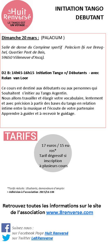 INITIATION TANGO DEBUTANT DIMANCHE 20 MARS